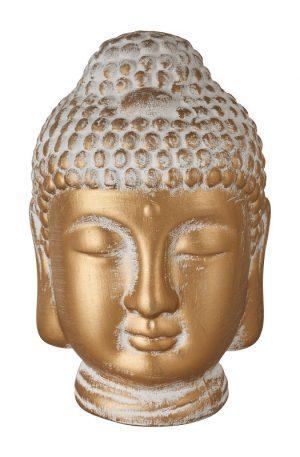 Boeddha hoofd - cement/goud - 12.5x13x20 cm