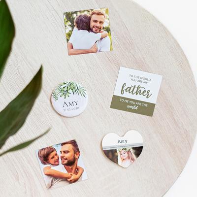 Button magneten met foto groot (Set van 12)