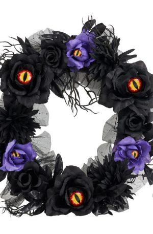 Krans met verlichte ogen - zwart - ⌀40 cm