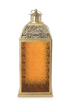 Lantaarn Marrakesh - oranje - 18x18x43 cm