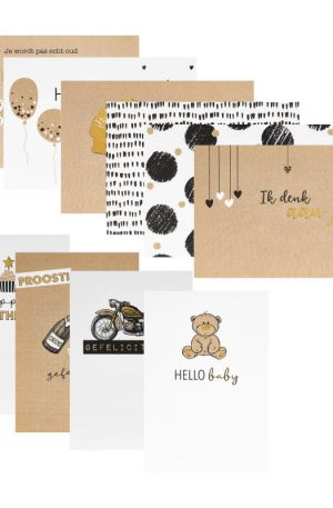 Postkaart - goudprint - 10 stuks - 12x17 cm