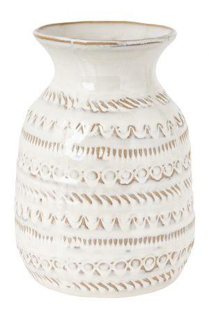 Vaas met reliëf - wit - groot - 15.5x21.5 cm