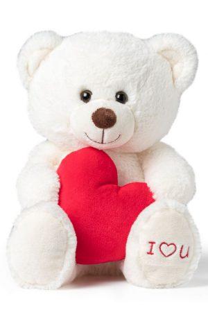 Valentijn beer - wit - 14x19x25 cm
