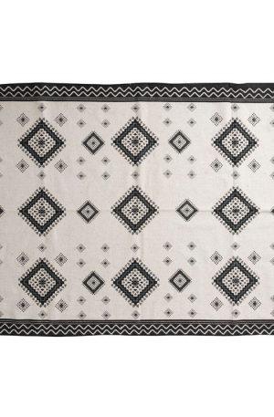 Vloerkleed azteken met rand - zwart - 175x120 cm
