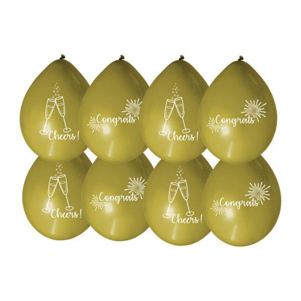 Ballonnen geslaagd goud set van 8
